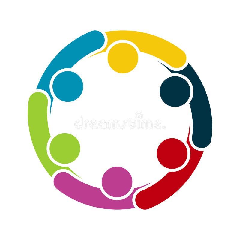 Gruppe von sechs Personen im Kreis Schwestern, die H?nde anhalten Die Gipfelarbeitskr?fte treffen sich in der gleichen Energiezen stock abbildung