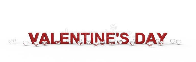Gruppe von Valentine Hearts auf weißem Hintergrund Wiedergabe 3d lizenzfreie abbildung