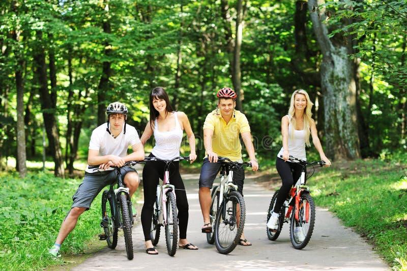 Gruppe von vier Erwachsenen auf Fahrrädern in der Landschaft lizenzfreie stockbilder