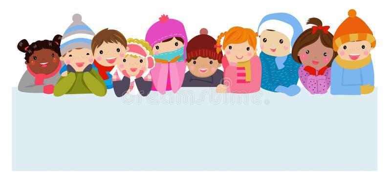 Gruppe von Winterkindern und -fahne lizenzfreie abbildung