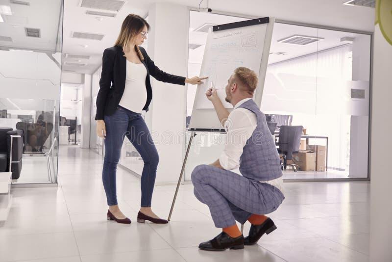 Gruppe von zwei jungen Leuten, von Geschäftsmann und von schwangerer Geschäftsfrau, Geschäftstreffen presentaion, stellend an Bor stockbilder