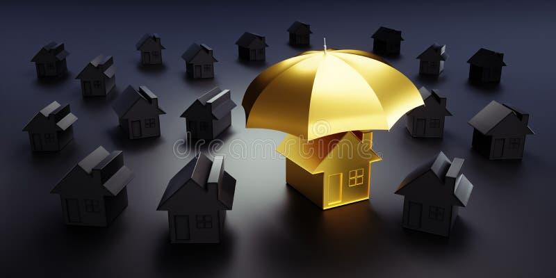 Gruppe weiße Häuser mit einem Regenschirm lizenzfreie abbildung