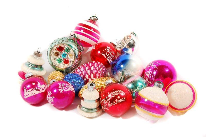Gruppe Weihnachtsverzierungen stockfotos