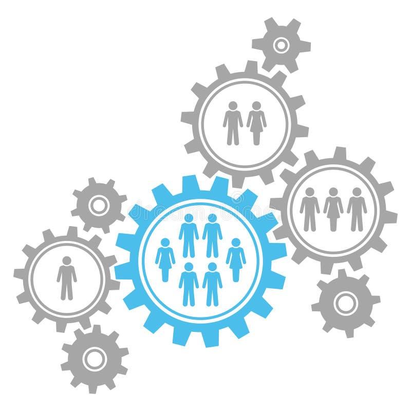Gruppen av åtta diagramkugghjul gränsar samhälleblått och grå färger royaltyfri illustrationer