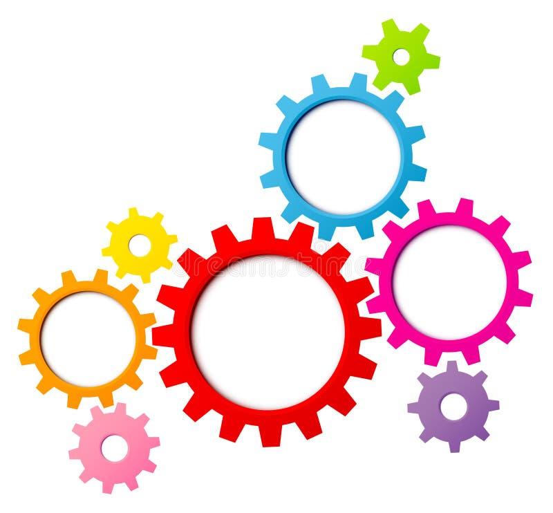 Gruppen av åtta grafiska kugghjul gränsar regnbågefärger vektor illustrationer