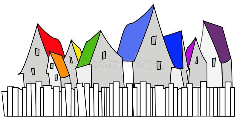 Gruppen av åtta hus med staket och det olika taket färgar vektor illustrationer