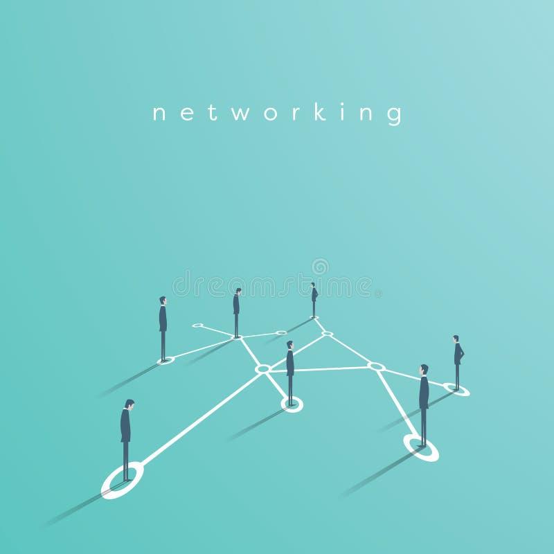 Gruppen av affärsfolk som knyter kontakt som gör kontaktar vektorbegreppsillustrationen Symbol av kommunikationen, teamwork stock illustrationer