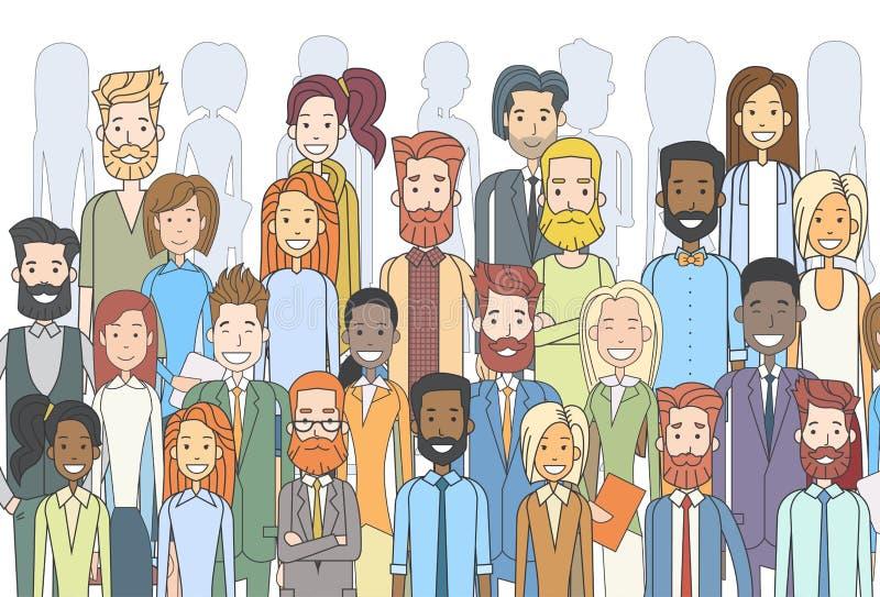 Gruppen av affärsfolk vänder mot olik person som tillhör en etnisk minoritet för stora folkmassaBusinesspeople royaltyfri illustrationer