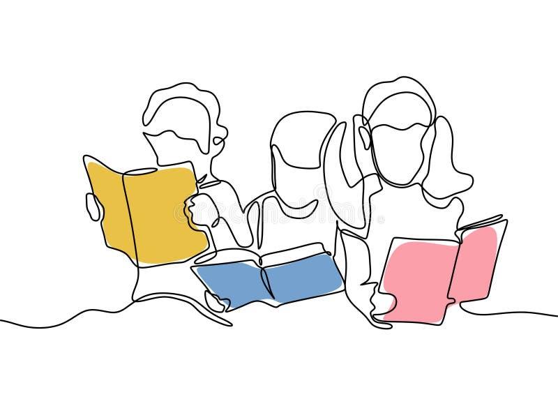 Gruppen av barn läste den fortlöpande en linjen teckning för boken vektor illustrationer