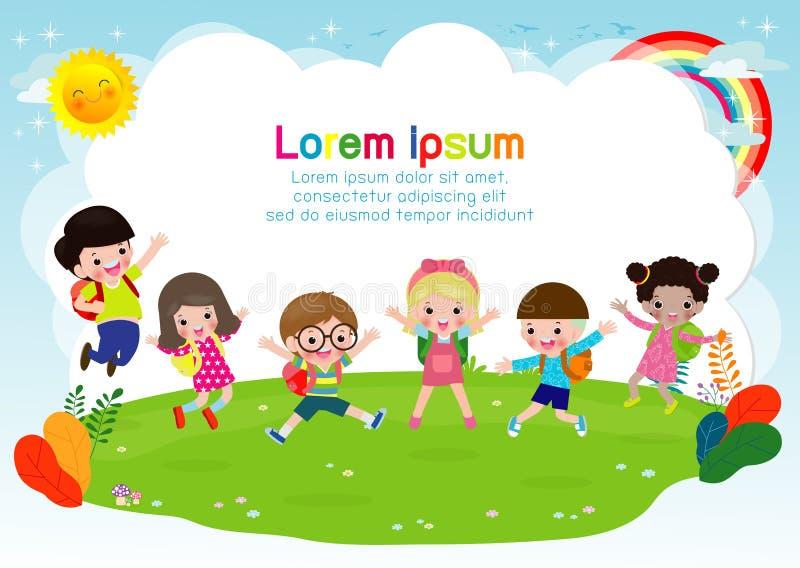 Gruppen av barn som hoppar, tillbaka till skola, ungeskola, utbildningsbegreppet, ungar går att skola, mallen för annonsering av  royaltyfri illustrationer