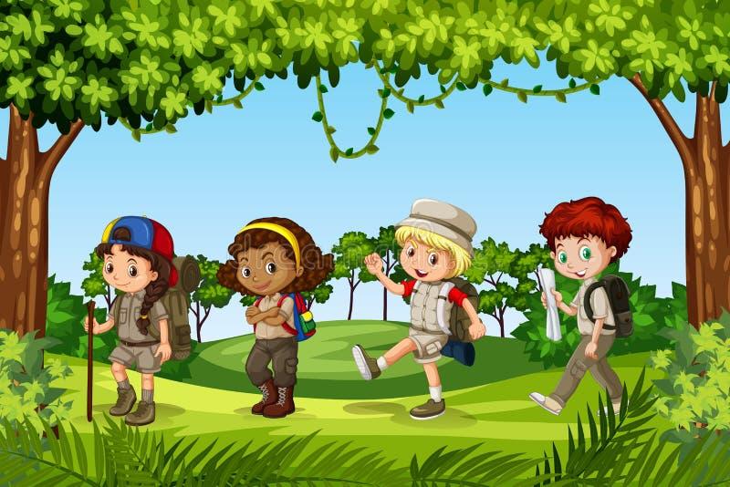 Gruppen av barnet spanar stock illustrationer