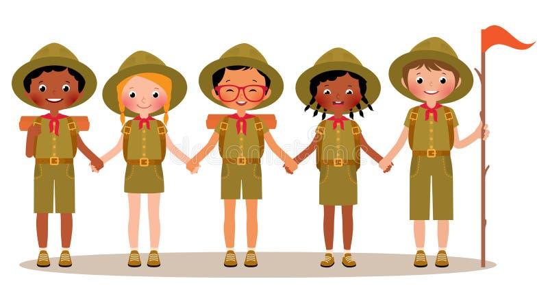 Gruppen av barnpojkar och flickor spanar i likformign royaltyfri illustrationer