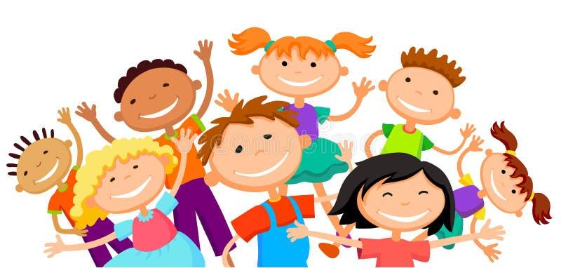 Gruppen av barnungar hoppar teckenet för vektorn för den glade vita bakgrundsbunnertecknade filmen det roliga illustration royaltyfri illustrationer
