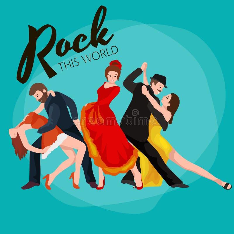 Gruppen av dansfolk, yong den lyckliga mannen och kvinnan dansar tillsammans och i ett par, flickasportdansaren, den lyckliga poj vektor illustrationer