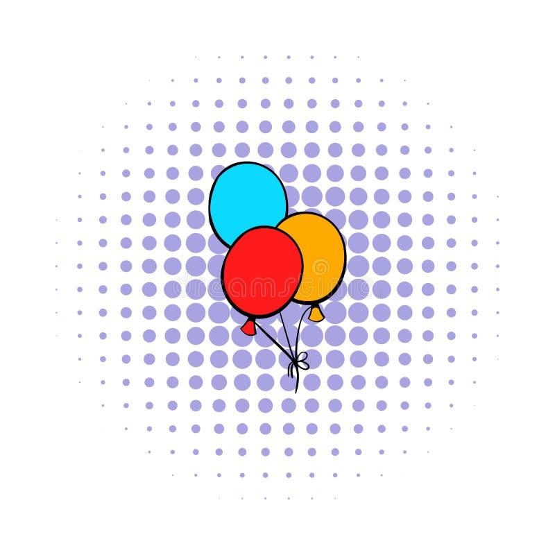 Gruppen av den kulöra baloonssymbolen, komiker utformar vektor illustrationer