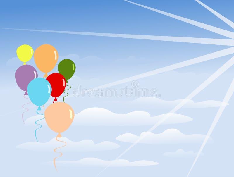 Gruppen av färgrika ballonger svävar på moln Det finns ljust från solen som skiner stock illustrationer