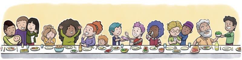 Gruppen av familjen och vänner som äter på ett stort äta middag tabellabstrakt begrepp, gulnar bakgrund vektor illustrationer