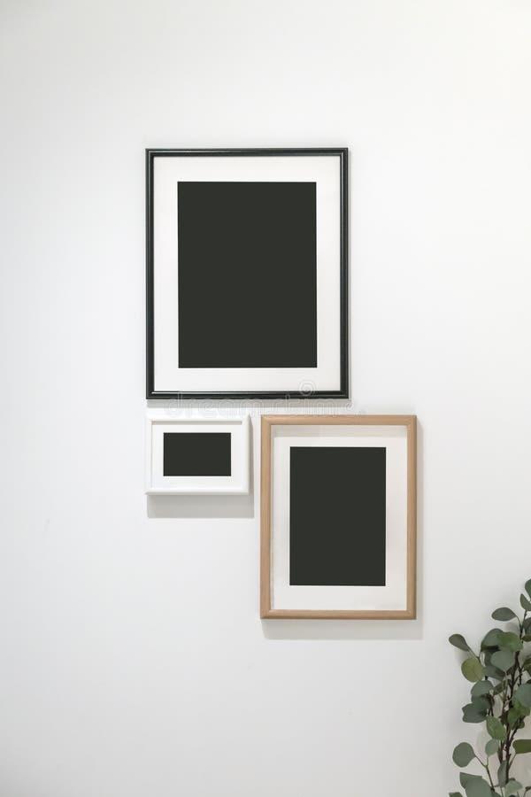 Gruppen av fotoet inramar att hänga mot den vita väggen arkivbild