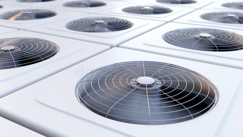 Gruppen av HVAC-enheter med fans stänger sig upp arkivfoto
