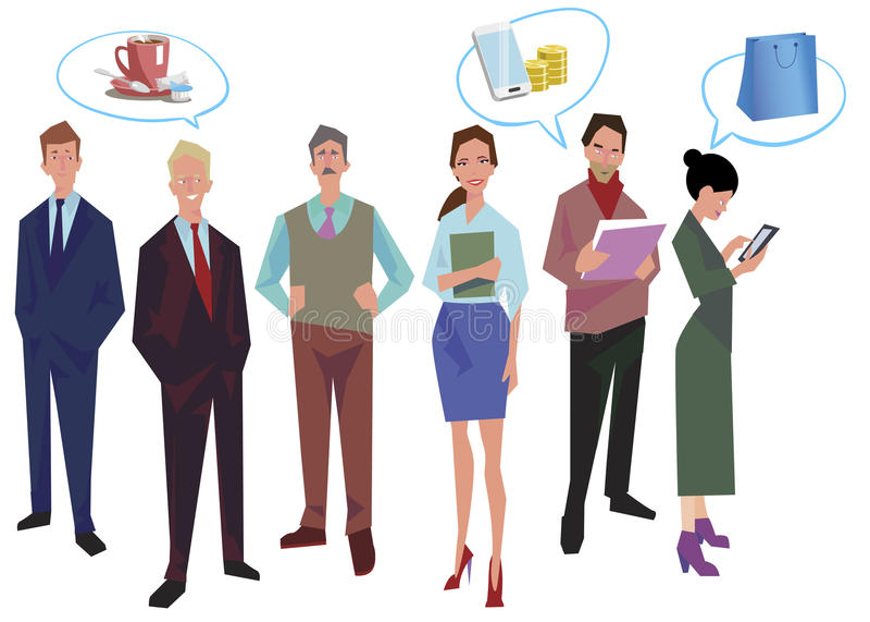 Gruppen av kontorsarbetare, anställda, chefer med anförande bubblar Affärsfolk i tillfälliga och kontorskläder På white vektor illustrationer