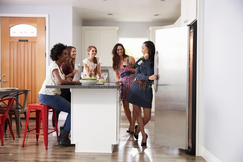 Gruppen av kvinnliga vänner som Pre tycker om matställen, dricker hemma royaltyfri foto