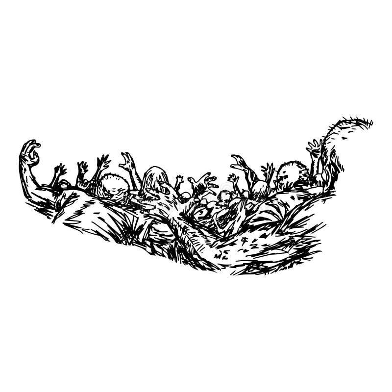 Gruppen av levande döden som används för allhelgonaaftonvektorillustration, skissar mummel stock illustrationer