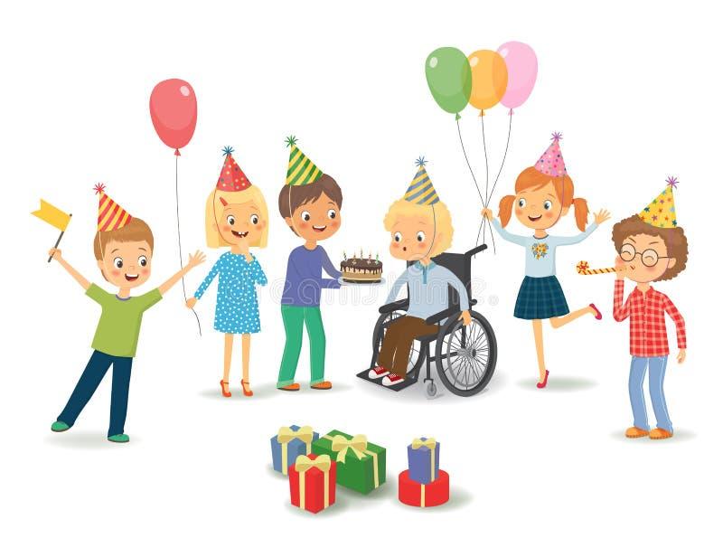 Gruppen av lyckliga barn gratulerar det rörelsehindrade barnet på hans birt royaltyfri illustrationer