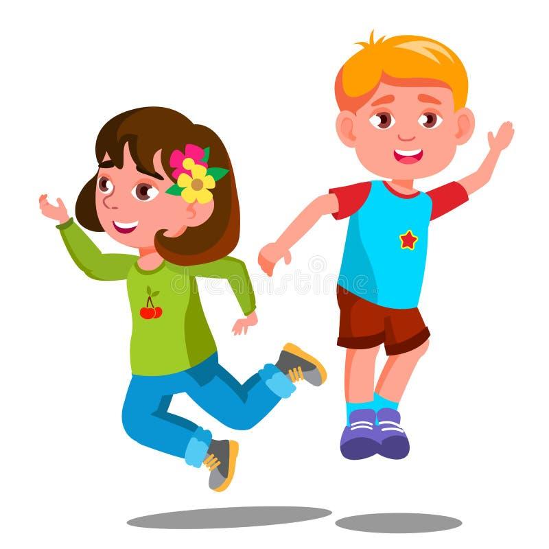 Gruppen av lyckliga barn hoppar tillsammans vektorn isolerad knapphandillustration skjuta s-startkvinnan vektor illustrationer