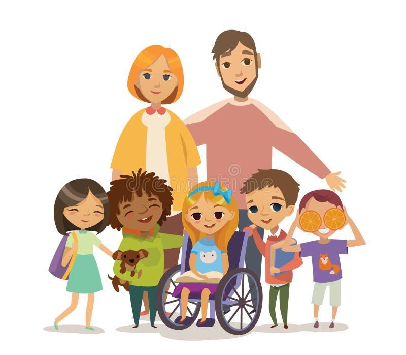 Gruppen av lyckliga Childdren med böcker och handleder Att bry sig för begreppet för rörelsehindrat barn Lära och spela tillsamma stock illustrationer