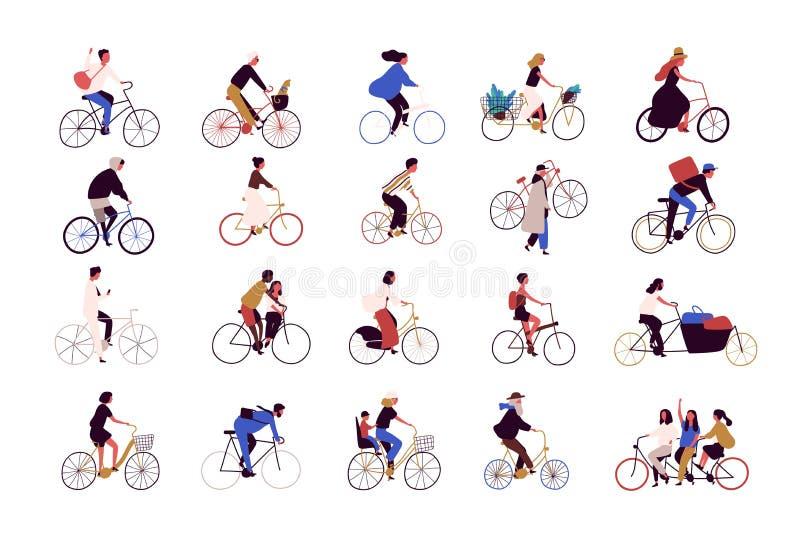 Gruppen av mycket litet folk som rider cyklar på stadsgatan under festivalen, lopp eller, ståtar Samling av män och kvinnor på stock illustrationer
