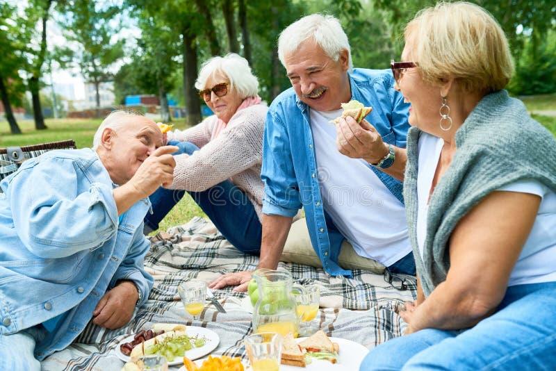 Gruppen av pensionärer som tycker om picknicken parkerar in arkivfoto