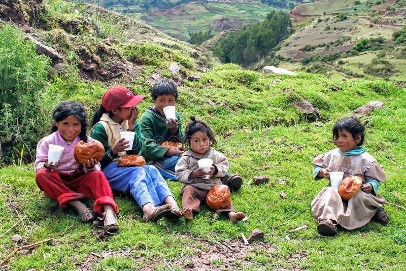 Gruppen av peruanska barn som delar jul, frukosterar att sitta i gräset som äter bröd royaltyfri fotografi