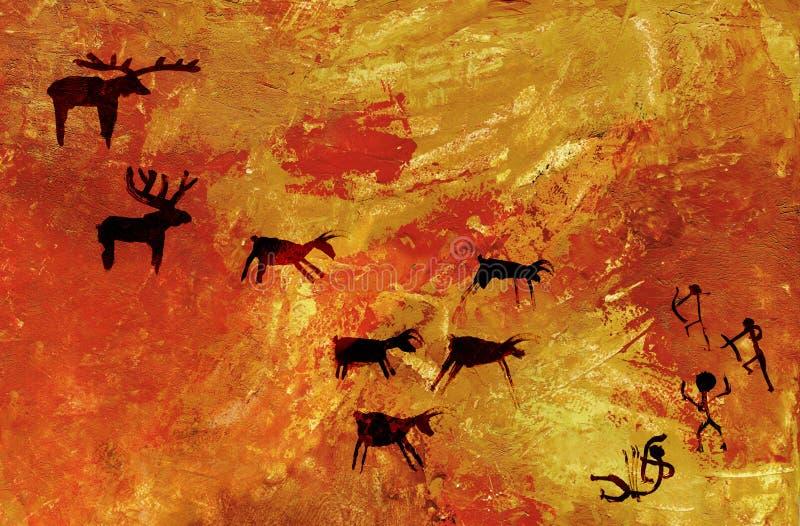 Gruppen av primitivt folk jagar en flock av traskade djur av hjortar och älgen Stylization av grottan vaggar konst royaltyfri fotografi