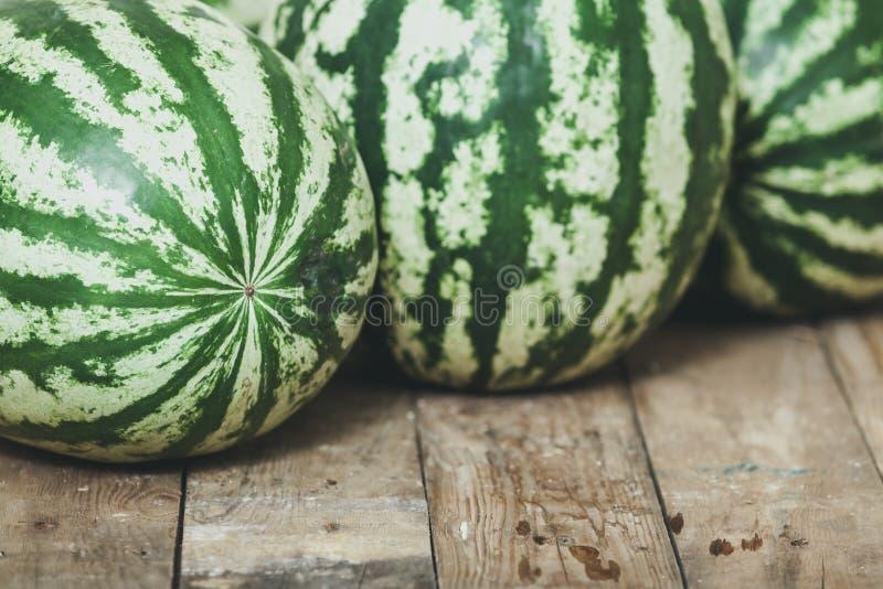 Gruppen av randiga vattenmelon ligger på träbräden royaltyfria bilder