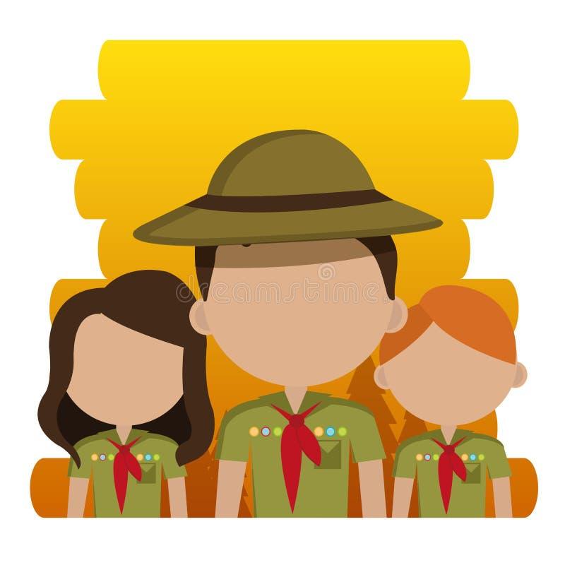Gruppen av spanar tecken royaltyfri illustrationer