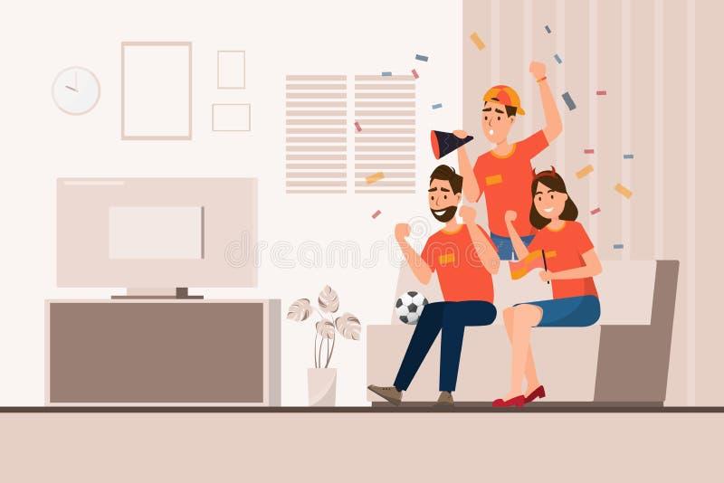 Gruppen av sportfans hurrar fotboll f?r deras lag royaltyfri illustrationer