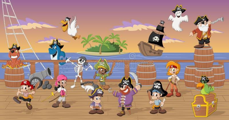 Gruppen av tecknade filmen piratkopierar stock illustrationer