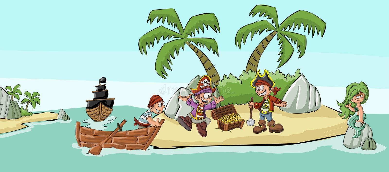 Gruppen av tecknade filmen piratkopierar royaltyfri illustrationer