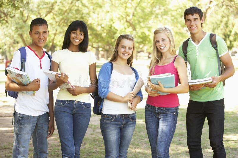 Gruppen av tonårs- studenter som in står, parkerar arkivfoto
