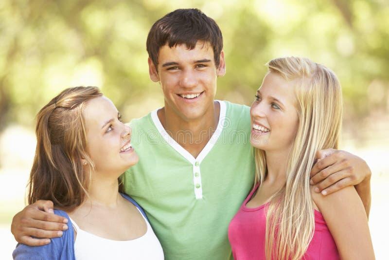 Gruppen av tonårs- vänner som har gyckel parkerar in arkivfoton