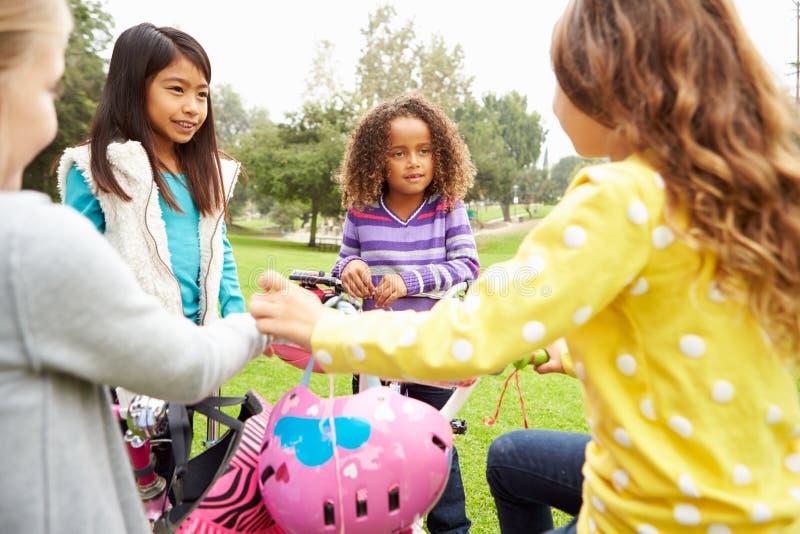 Gruppen av unga flickor med cyklar parkerar in arkivfoto