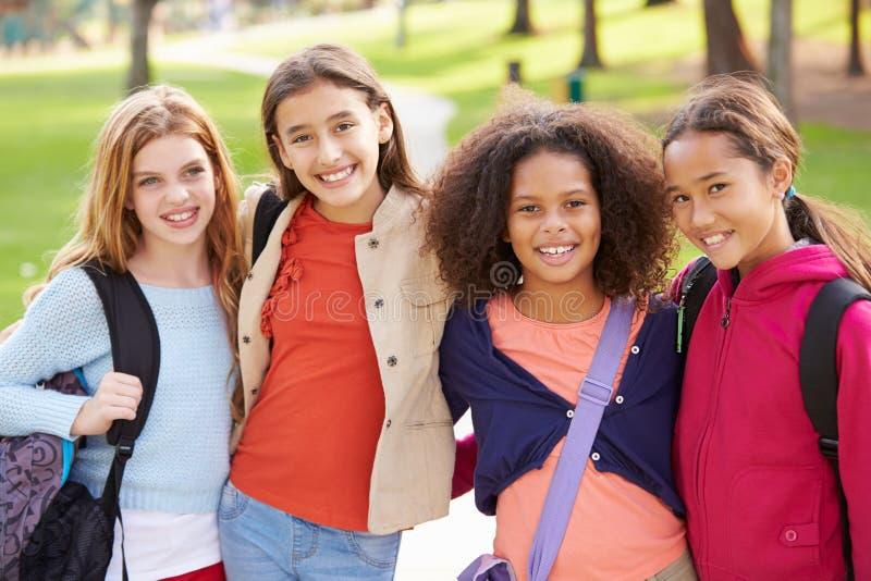 Gruppen av unga flickor som ut hänger i, parkerar tillsammans royaltyfria foton