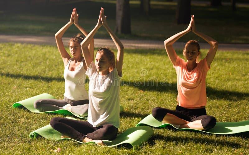 Gruppen av unga kvinnor som öva yoga, morgonmeditation i natur på, parkerar arkivbilder