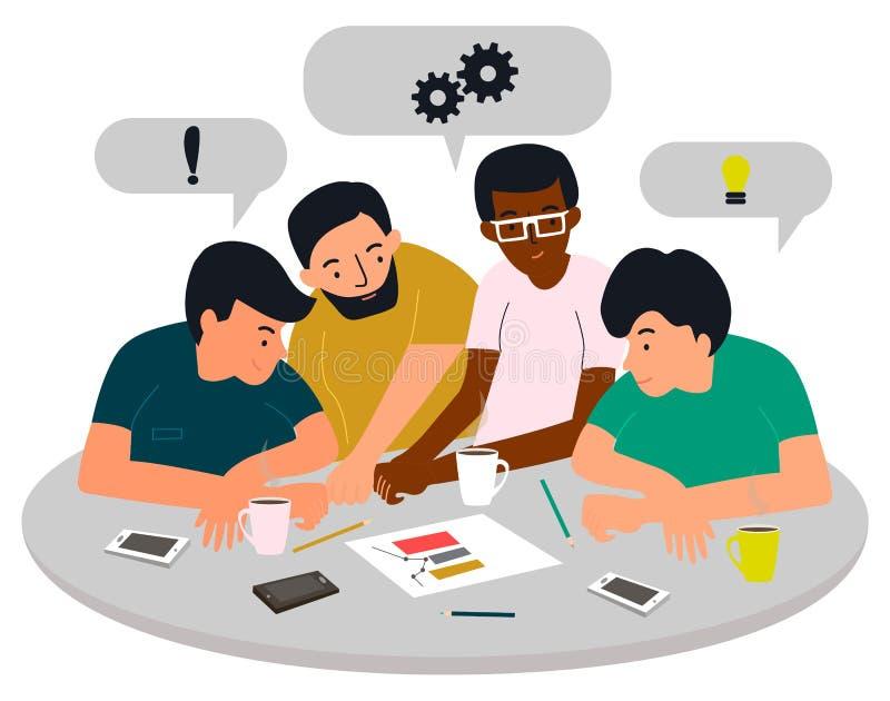 Gruppen av unga män diskuterar en ny start Fyra unga män har ett möte white f?r vektor f?r bakgrundsillustrationhaj vektor illustrationer