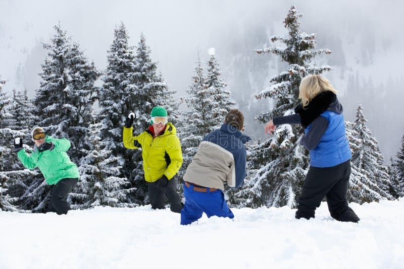 Gruppen av unga vänner som har, kastar snöboll slagsmål royaltyfria bilder