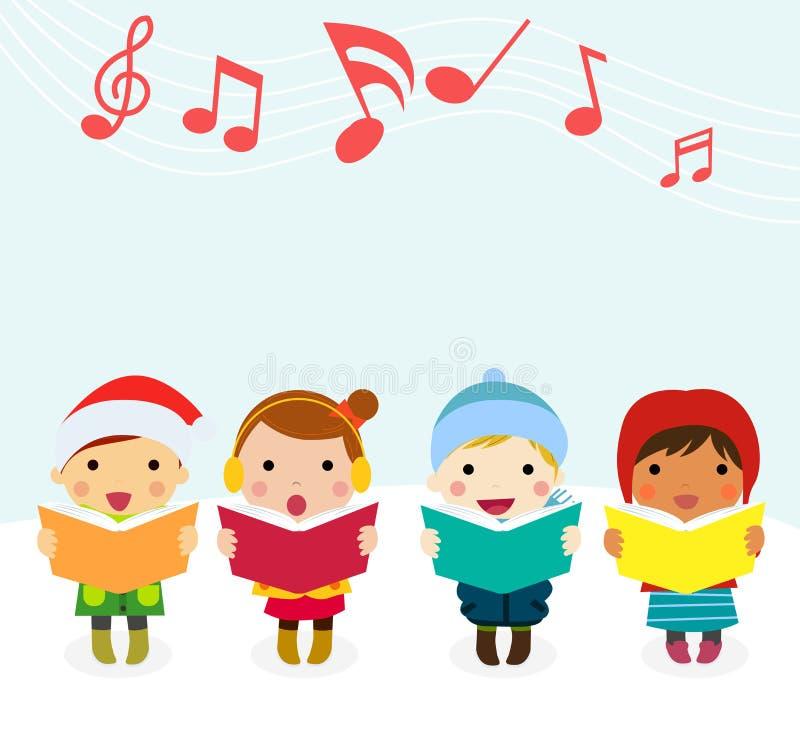 Gruppen av ungar sjunga i kör sjungande julsånger royaltyfri illustrationer