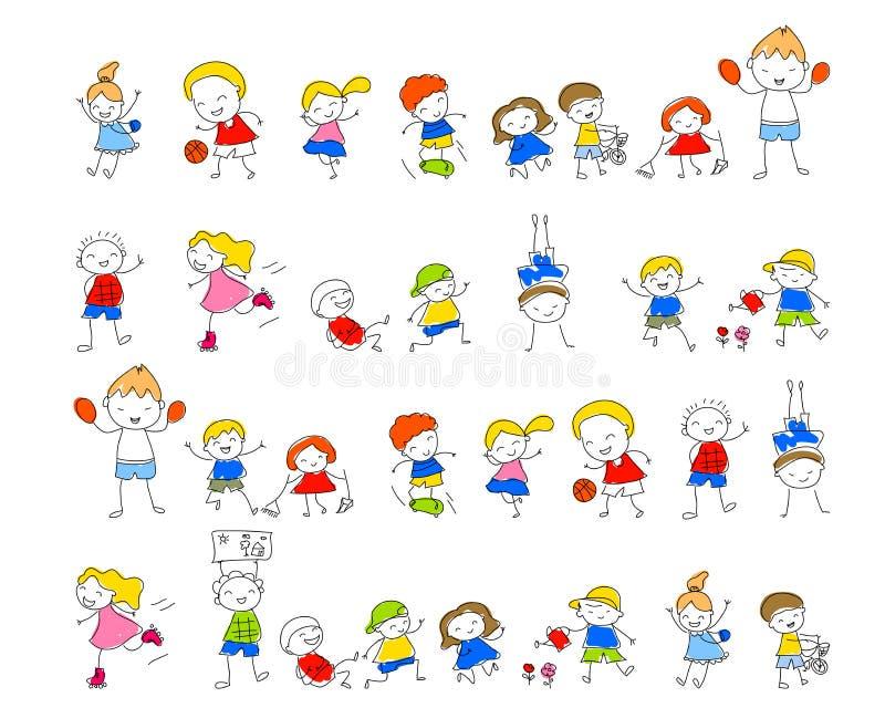 Gruppen av ungar som drar skissar royaltyfri illustrationer