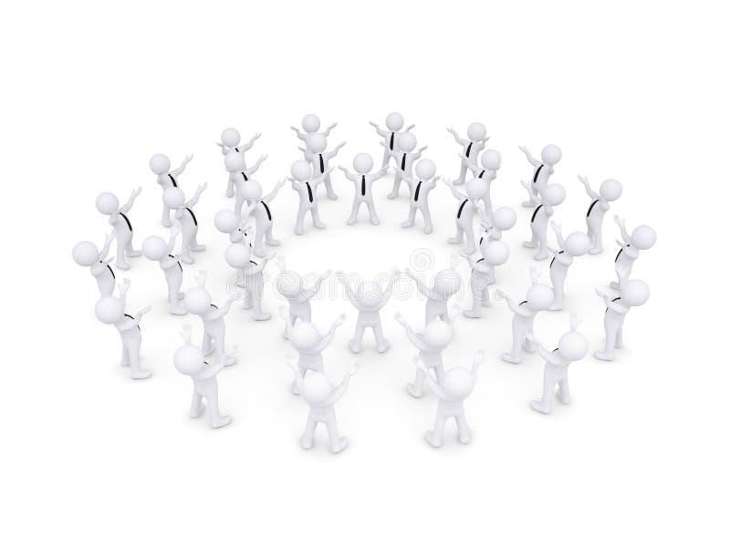 Gruppen av vitt folk 3d lyftte deras händer stock illustrationer