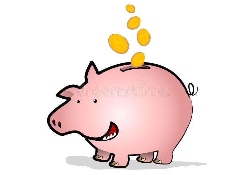 gruppen coins piggy vektor illustrationer