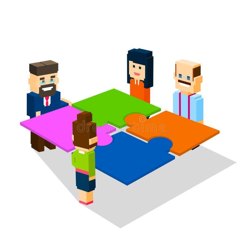 Gruppen för affärsfolk gör pusslet att lösa det isometriska lösningsteamworkbegreppet 3d vektor illustrationer